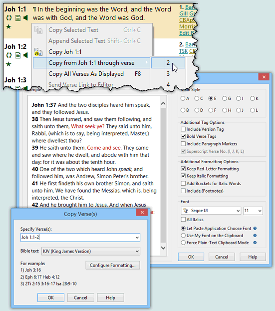SwordSearcher Bible Software - Features - Clipboard functions