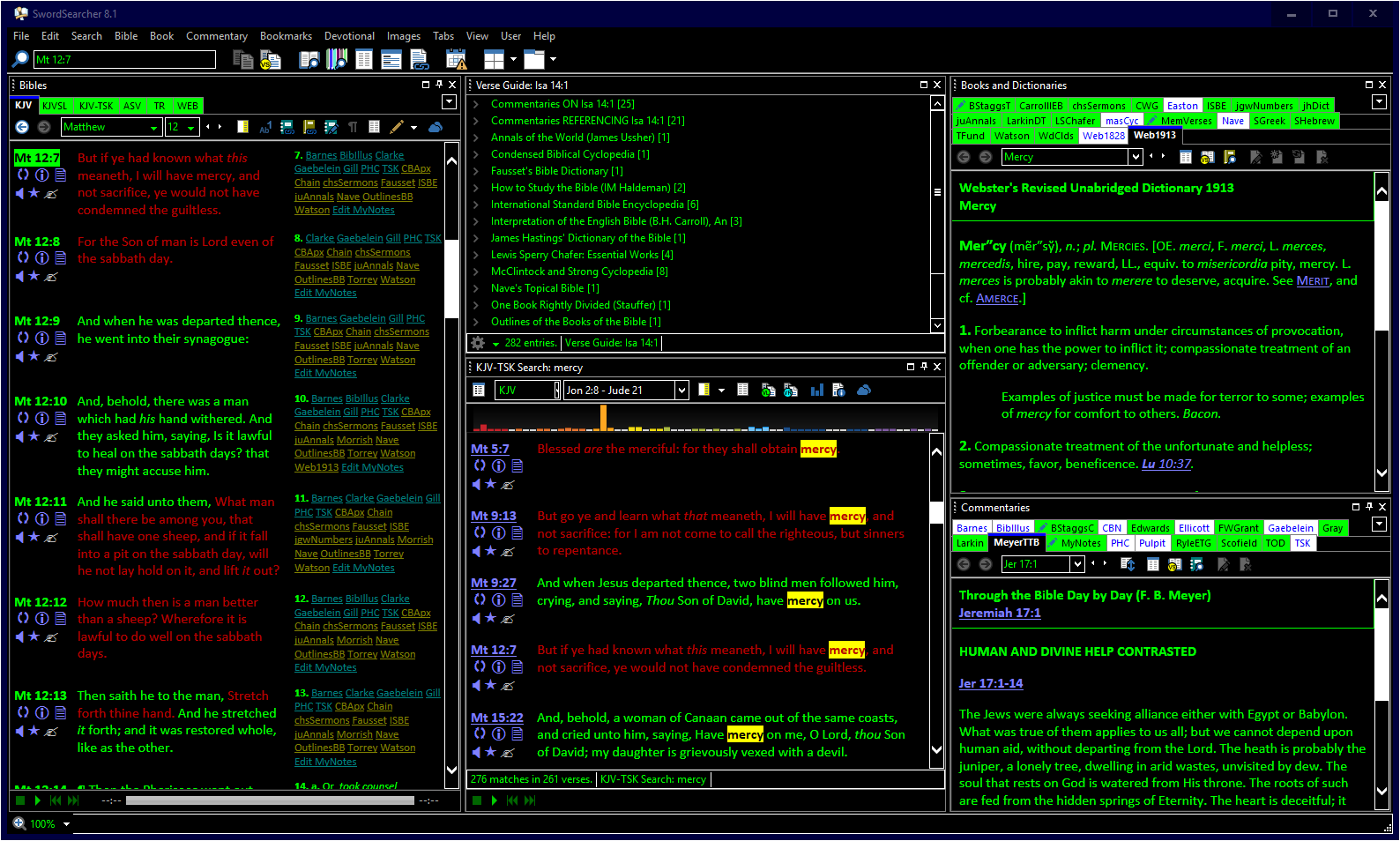 SwordSearcher 8.1 in high-contrast mode