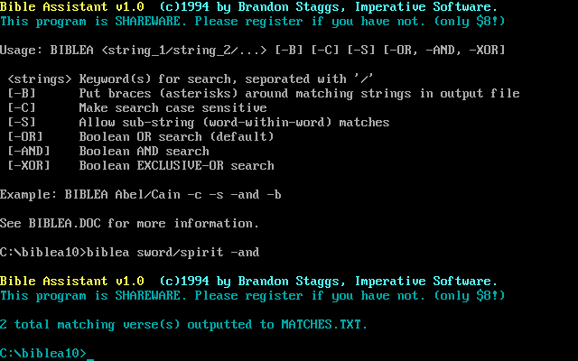 Bible Assistant (SwordSearcher 1.0 for DOS) screen shot